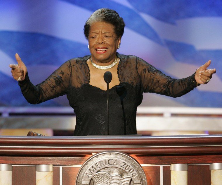 Image: File photo of Poet Maya Angelou during second night of Democratic National Convention in Boston