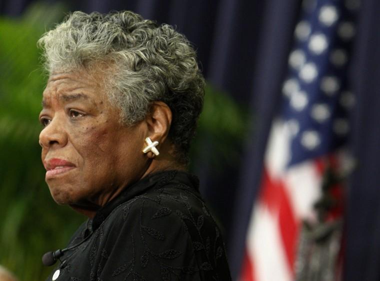 Image: File photo of U.S. poet Maya Angelou speaking during a ceremony to honor South African Archbishop Emeritus Desmond Tutu in Washington