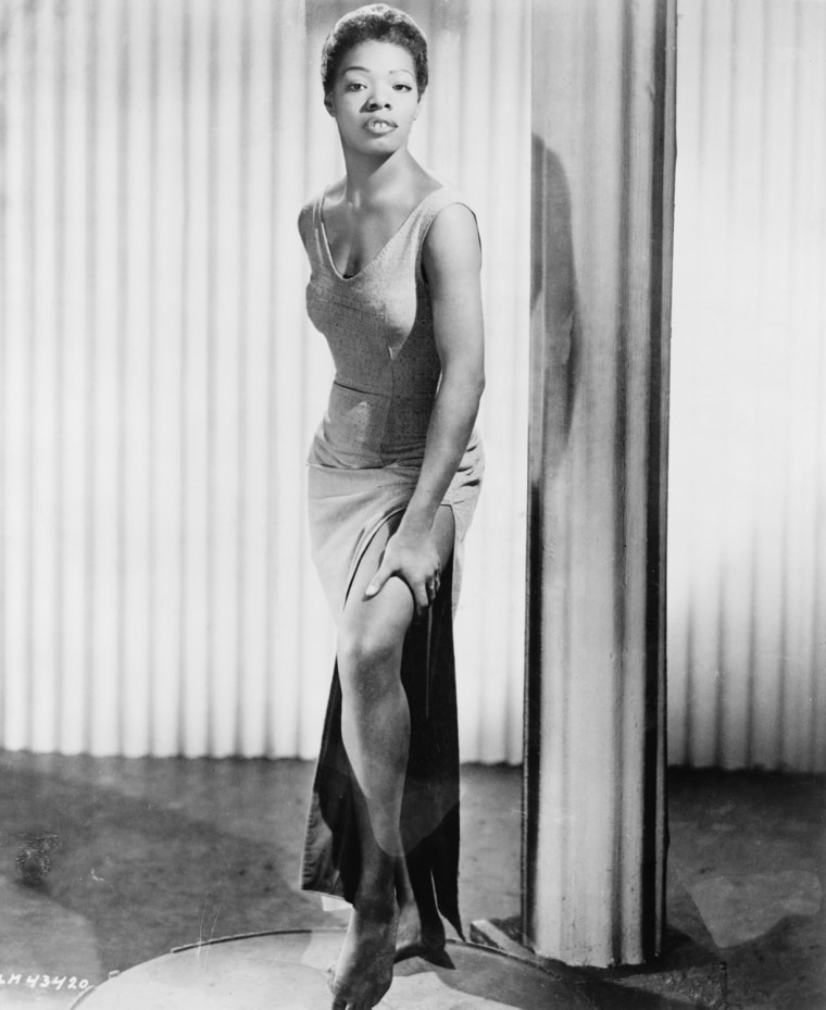 Maya Angelou (b. 1928), began her career as a dancer and writer. 1957 portrait dressed for her part