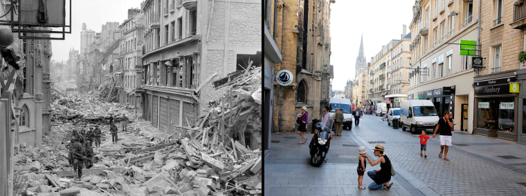 Image: Handout photo of Canadian troops patrolling along the destroyed Rue Saint-Pierre after German forces were dislodged from Caen
