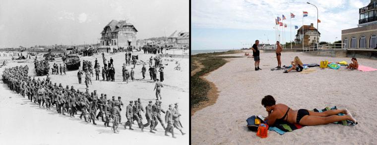 Image: Handout photo of German POWs marching along Juno Beach landing area at Bernieres Sur Mer