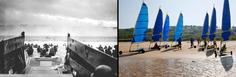 Image: Handout photo of U.S. troops wading ashore from a Coast Guard landing craft at Omaha Beach during the Normandy D-Day landings near Vierville sur Mer
