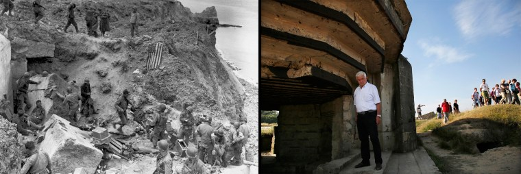Image: Handout photo of a U.S. flag used as a marker on a destroyed bunker at Pointe du Hoc