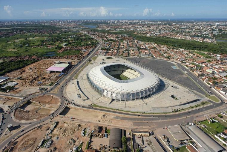 Image: An aerial view of Estadio Castelao stadium in Fortaleza, northeastern Brazil