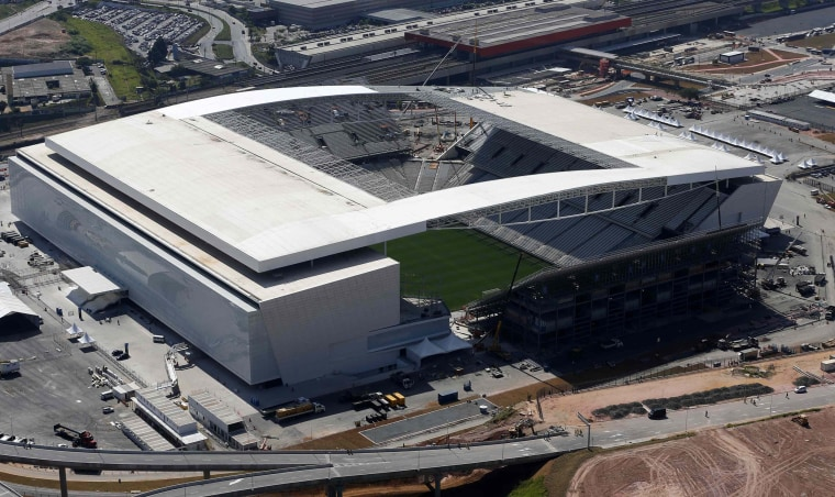Image: File photo of an aerial view of the construction site of Arena de Sao Paulo Stadium