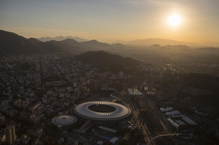 Image: Aerial view of the Maracana stadium during sunset in Rio de Janeiro