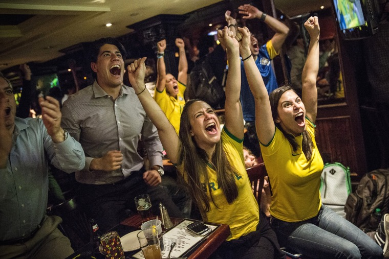 Image: Soccer Fans Watch World Cup Opening Match In New York City