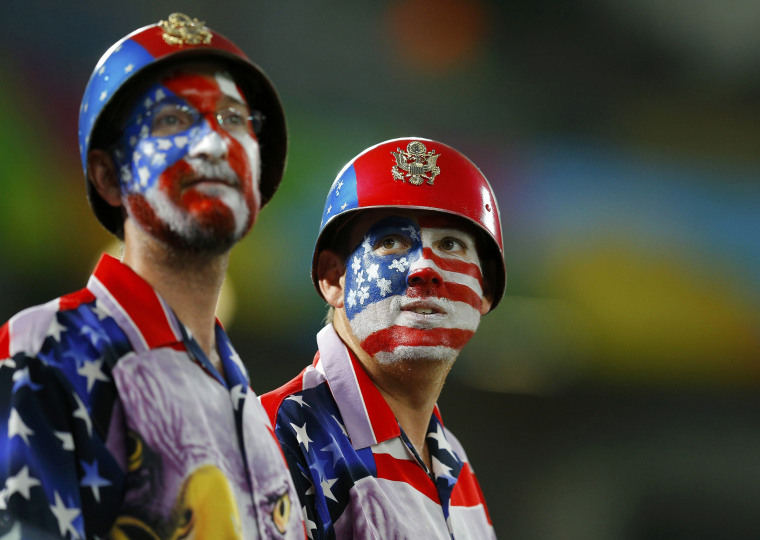 Image: Fans of the U.S. wait for the 2014 World Cup Group G soccer match between Ghana and the U.S. at the Dunas arena