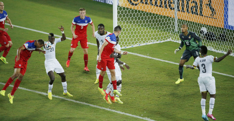 Image: Brooks of the U.S. heads to score a goal during their 2014 World Cup Group G soccer match against Ghana at the Dunas arena in Natal