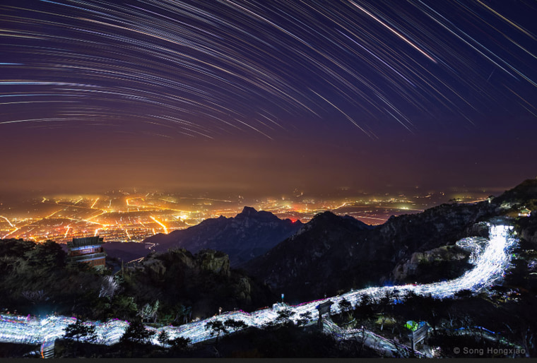 Image: A long-exposure photo sequence has captured star trails from the sacred Taishan or Mount Tai