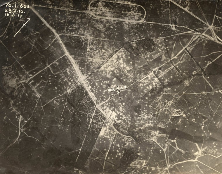 Image: An aerial photograph shows an Allied aircraft flying over the Western Front in this undated handout picture