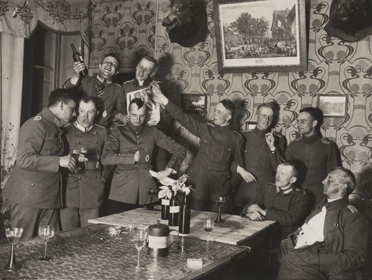 Image: German officers of Flieger Abteilung 280 have a party at a house where they are stationed near the Western Front, in this summer 1918 handout picture.