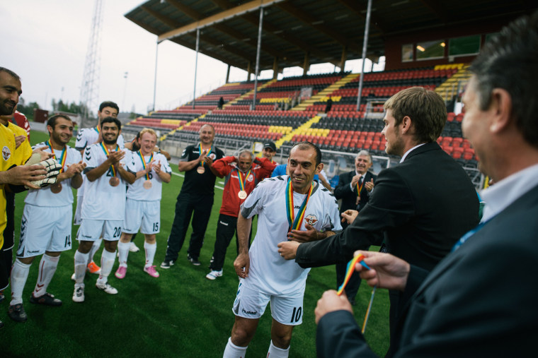 June, 2014 …stersund, Sweden  Nagorno Krabakh Fa during the medal ceremony. They finished 9th in the tournament.