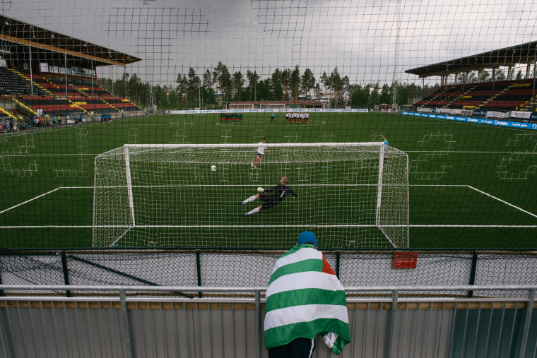 June, 2014 …stersund, Sweden  Abkhazia FA receiving a goal from Padania FA during penalties. Abkhazia FA will win the placement match.