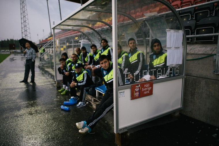 June, 2014 …stersund, Sweden  The bench of Kurdistan watches the game against Padania. It was won by Padania on penalties.