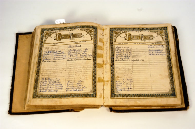 Image: Rosa Parks' family Bible with genealogy page