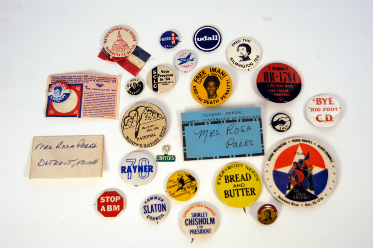 Image: A selection of Rosa Parks' political buttons