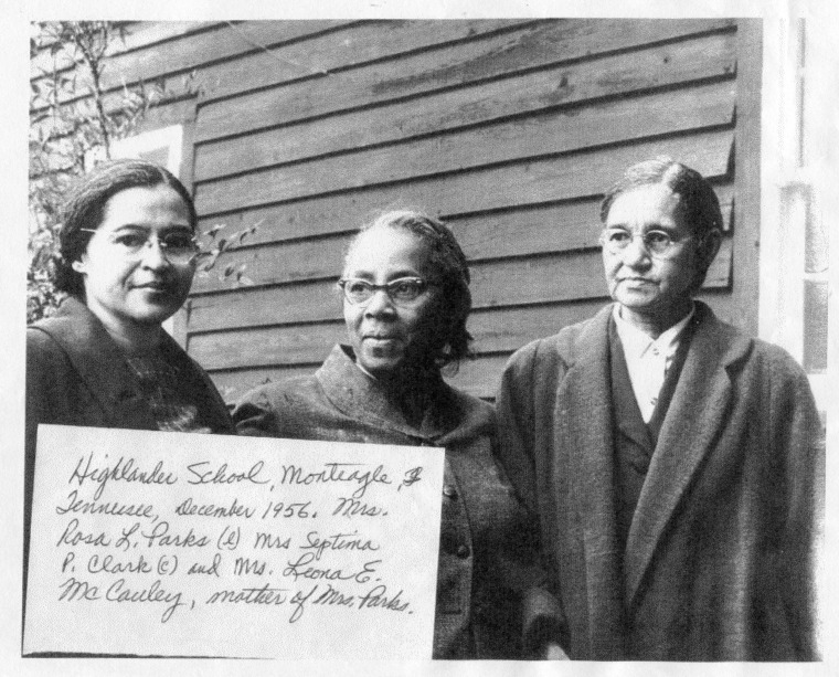 Image: Note reads: Highlander High School, Monteagle, Tennessee, December 1956. Mrs. Rosa L. Parks (l) Mrs. Septima P. Clark (c) and Ms. Leona E. McCauley, mother of Mrs. Parks