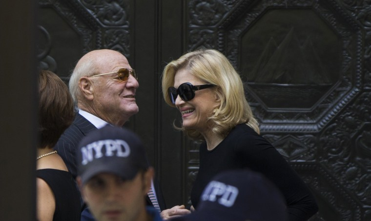 Image: IAC/InterActiveCorp Chairman Barry Diller greets journalist Diane Sawyer as they arrive to attend the funeral of comedienne Joan Rivers at Temple Emanu-El in New York