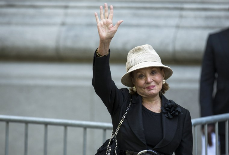 Image: Barbara Walters waves as she arrives to attend the funeral of comedienne Joan Rivers at Temple Emanu-El in New York
