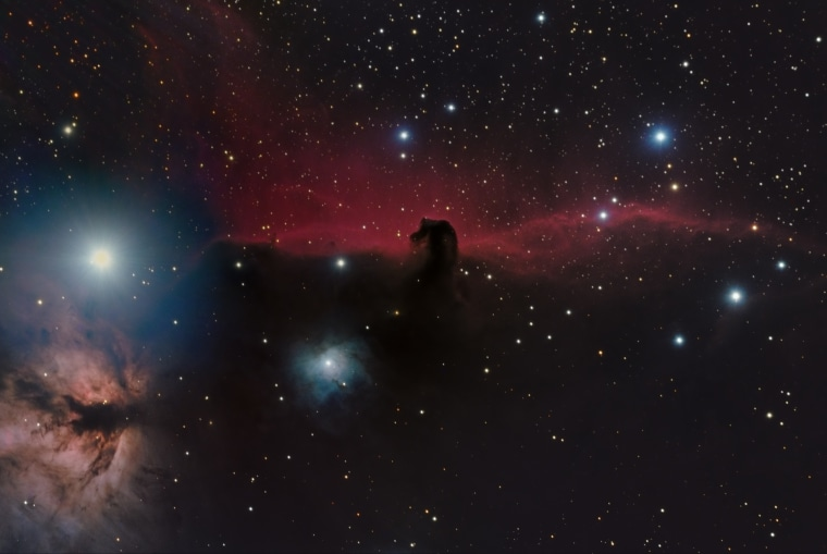 This image clearly depicts the well-known red glow that appears to come from being the horsehead, produced by hydrogen gas that has become ionized by neighbouring stars. The photograph draws particular attention to the cloud of heavily concentrated dust within the horsehead, which is silhouetted against the red glow as it blocks so much of the light that is trying to get through.