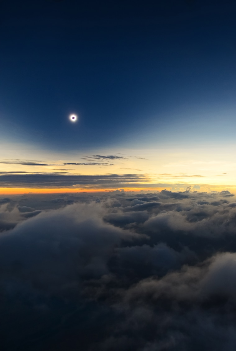 A fantastic view of one of nature's greatist spectacles, a total solar eclipse, taken from an airplane, 3200m above Turkana Kenya. The photographer was due to shoot this rare occurrence from the eastern shore of Lake Turkan but a huge sand-storm hit the region forty minites befor totality. However, the pilot of the place decided to fly the place to intercept the eclipse, and Belda was lucky enough to capture the phenomenon, which laster a mere ten seconds ,through the open dorr of the small airplane.