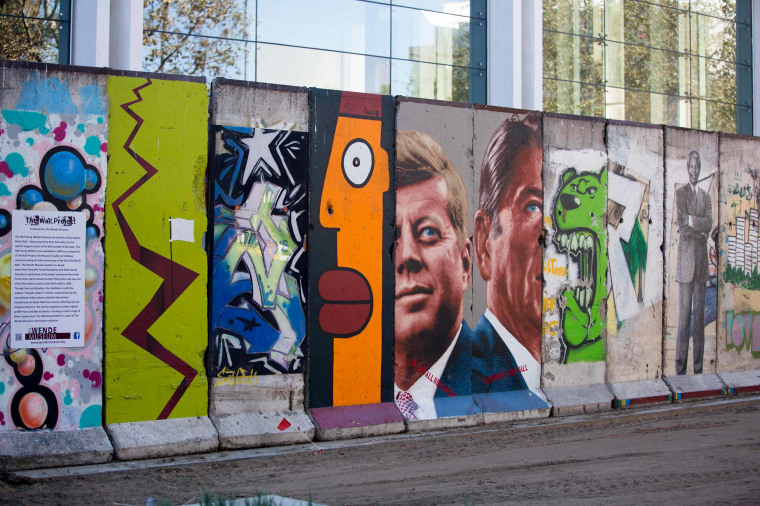 Image: Ten segments of the Berlin Wall, which constitute the longest stretch outside of Berlin, are seen on display in Los Angeles, California