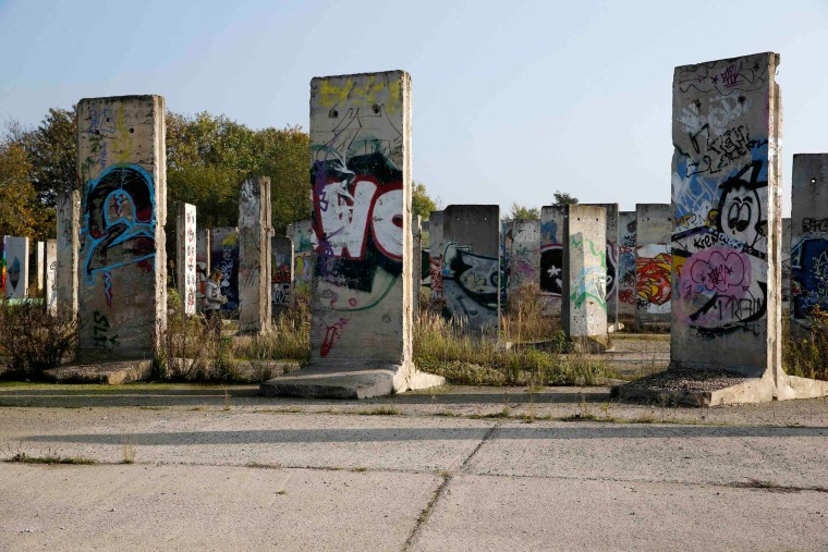 Image: Segments of the Berlin Wall, which are for sale, are seen at a storage yard in Teltow, south of Berlin