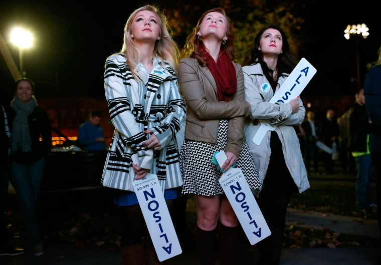 Image: Kentucky Senate Seat Candidate Alison Lundergan Grimes Gathers With Supporters On Election Night