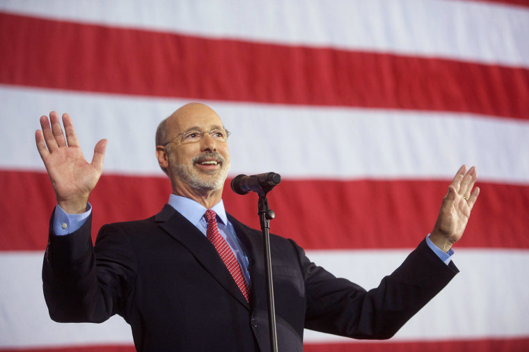 Image: Democrat Tom Wolf speaks after the results of the midterm election in York, Pennsylvania