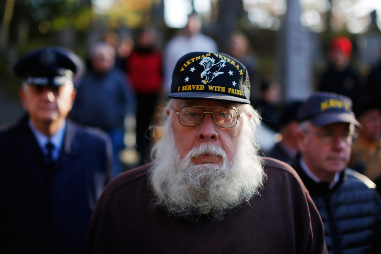 Image: Vietnam War veteran Bill Hopkins participates in Veterans Day ceremonies in Concord