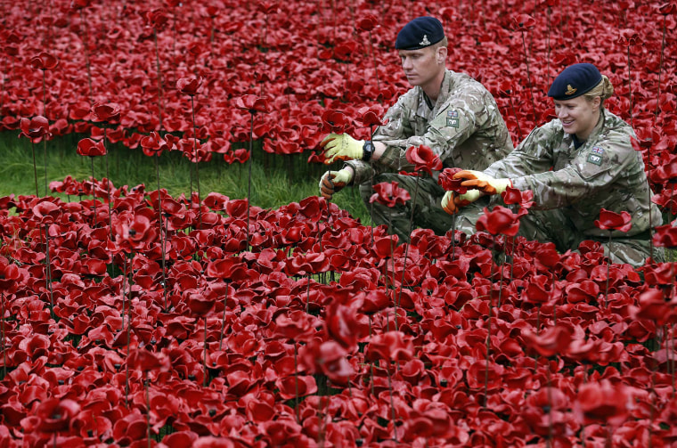 "Image: Sergeant James Hunter and Captain Kelly Richards plant ceramic poppies amongst other poppies that form part of the art installation called ""Blood Swept Lands and Seas of Red"" at the Tower of London"