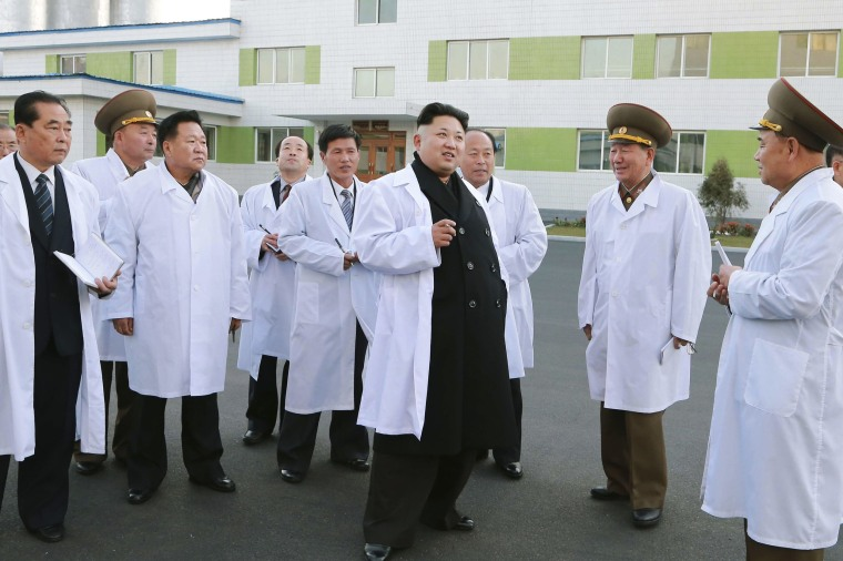 Image: KCNA handout shows North Korean leader Kim Jong Un inspecting the Korean People's Army's February 20 Factory