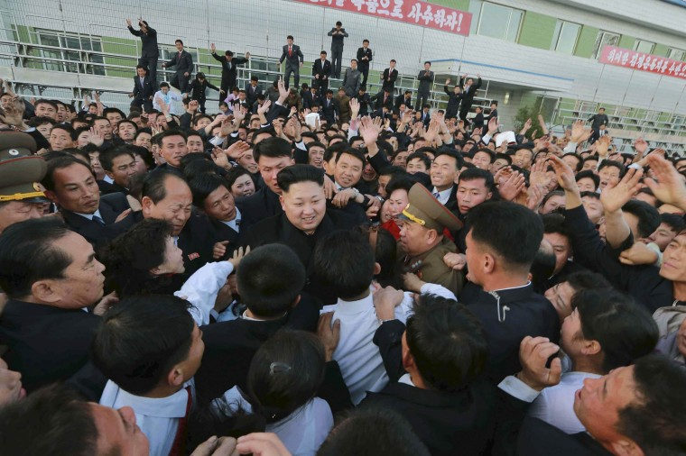 Image: KCNA handout shows North Korean leader Kim Jong Un visiting the Korean People's Army's February 20 Factory