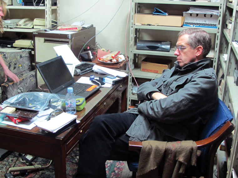 Image: A quiet moment the NBC Cairo Bureau during the uprising in Egypt. February 2011.