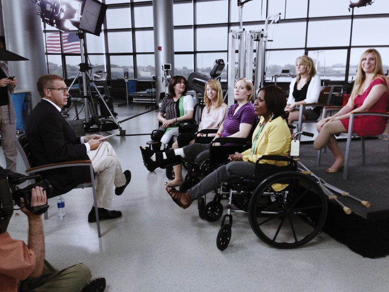 Image: An emotional conversation with survivors of the Boston Marathon bombing, May 2013.
