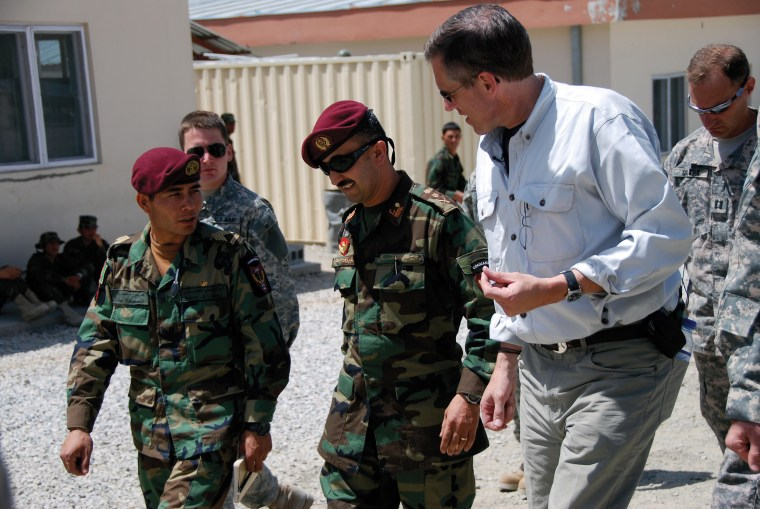 Image: With military commanders at an Afghan Commando training outpost. Afganistan, June 2008.