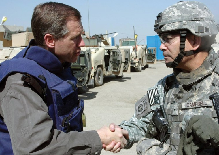 Image: U.S. Army General Campbell prior to patrol. Iraq, March 2007.