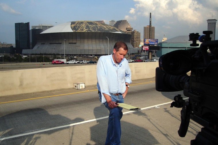Image: Broadcasting from outside the Superdome in the days following Hurricane Katrina. New Orleans, LA, August 2005