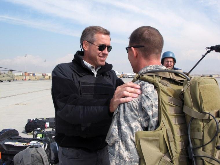 Image: Saying farewell to U.S. military escort. Iraq, March 2007.