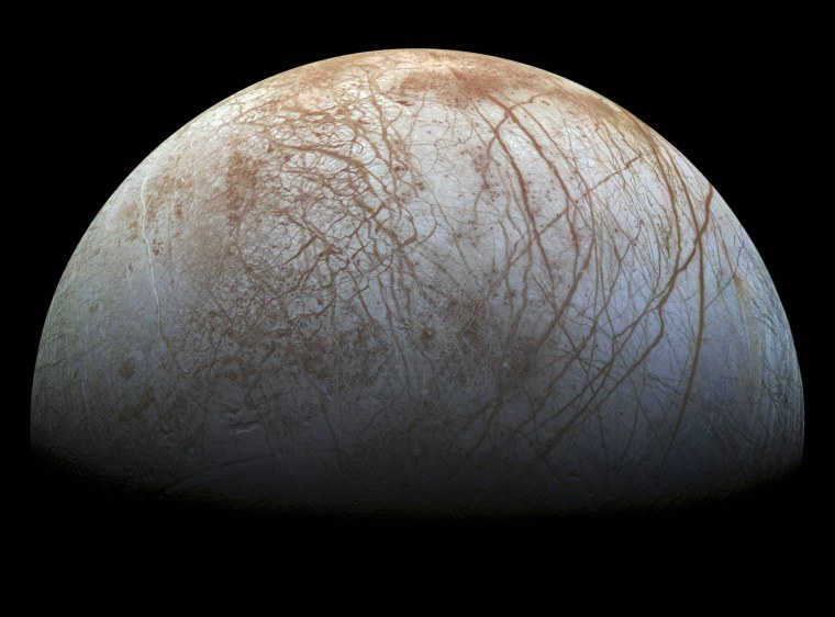Image: A NASA mosaic made from images taken by the Galileo spacecraft in the 1990's of Jupiter's icy moon, Europa