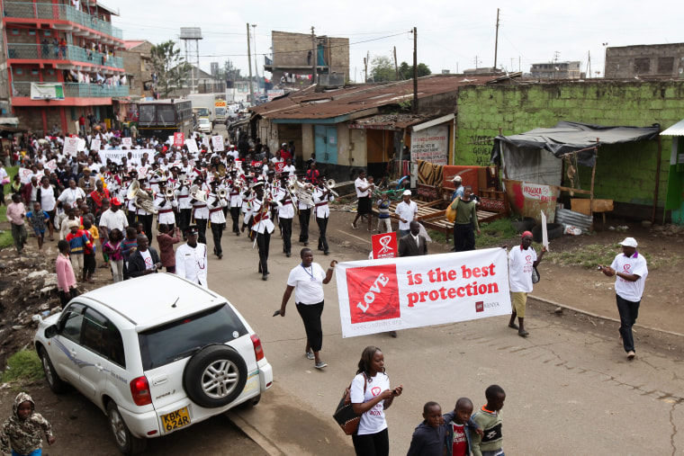Image: Kenyans match to create awareness about HIV and AIDS