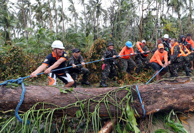 Image: Soldiers join together to pull a fallen tree toppled by Typhoon Hagupit in Eastern Samar, in central Philippines