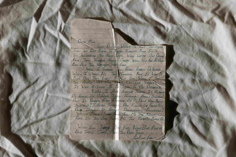 Image: Columba McVeigh's last letter home to his mother is displayed in his brother Oliver's house in County Tyrone