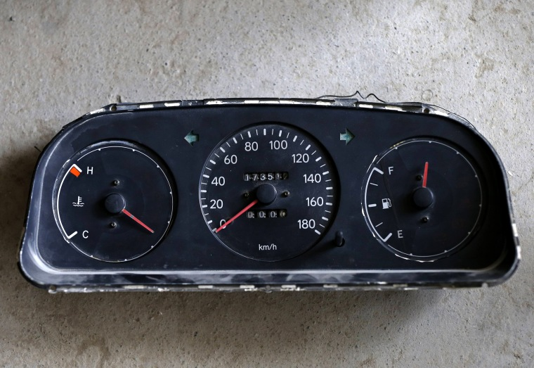 Image: A speedometer is seen at a driving school in Kabul