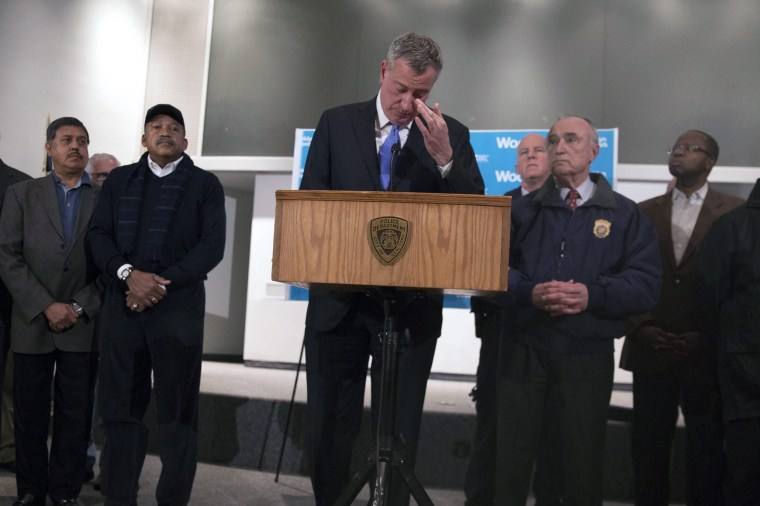 Image: New York City Mayor Bill de Blasio presser on NYPD Police Officers shot in Brooklyn