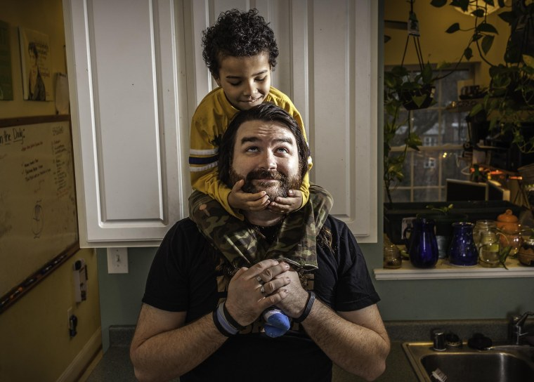 Image: Benjamin Jancewicz, 31, a designer from Baltimore, with his son, Arion Jancewicz, 6, talks about the complexity of being a biracial family.