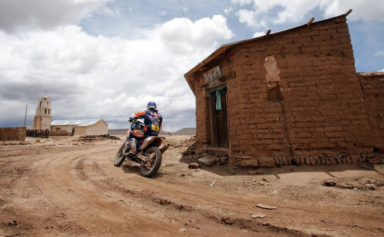 Image: KTM rider Marc Coma of Spain rides during the 7th stage of the Dakar Rally