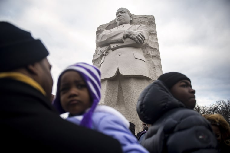 Image: Visitors Pay Their Respects On Martin Luther King Jr. Day At Memorial To MLK