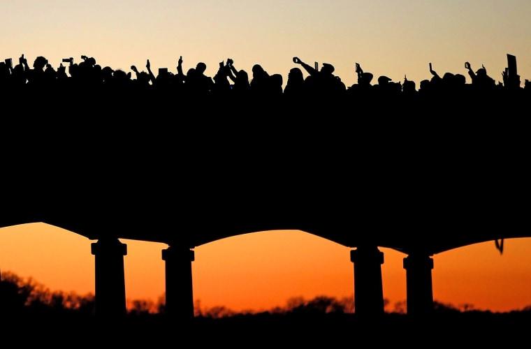 Image: ***BESTPIX*** Members Of The Cast From Movie Selma March Over Edmund Pettus Bridge